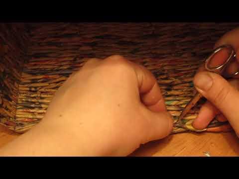 Плетение короба из газетных трубочек: Дополнение к 7 уроку. Подклеиваем трубочки внутри короба