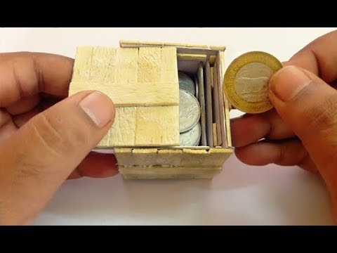 Homemade Cardboard Puzzle Box With Secret Lock DIY | Popsicle or Ice Cream Stick Puzzle Box
