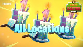 "ALL 10 BIRTHDAY CAKE LOCATIONS! ""Dance in Front of Different Birthday Cakes"" - Fortnite Birthday!"