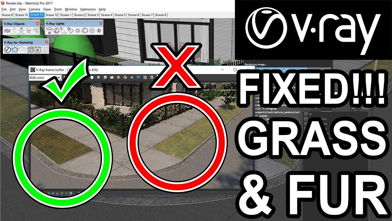 Fix Grass & Vray Fur Problem _ Vray Sketchup Tutorial