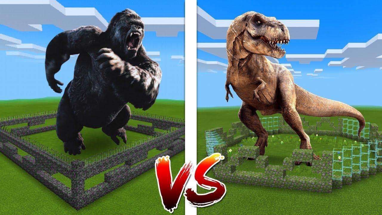 Minecraft PE : King Kong Farm vs T-Rex Farm #1