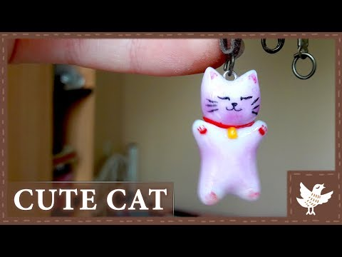 EASY DIY || Necklace || Cute Pink Cat - Polymer Clay Tutorial