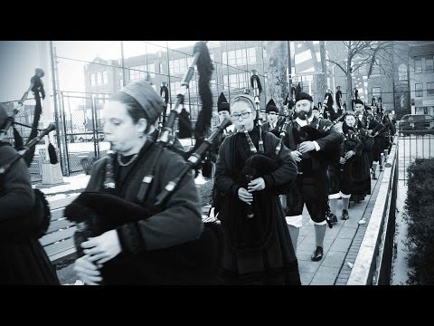 Asturias Spain Bagpipe Band Plays Danny Boy after New York St. Patrick's Day Parade