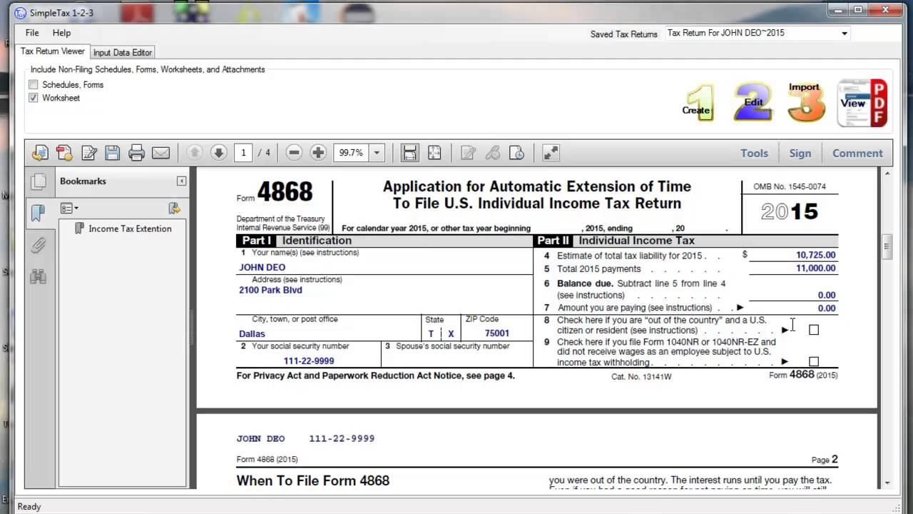 SimpleTax Form 4868 - YouTube