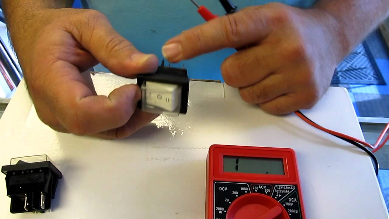 testing carpet cleaning rocker switches with a multimeter [ 1280 x 720 Pixel ]