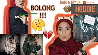 HAUL SHOPEE HOODIE MURAH | HAUL DAN TRY ON HOODIE OVERSIZED dan BIG SIZE sampe XXL loh!