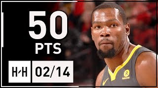 Kevin Durant Full Highlights Warriors vs Trail Blazers (2018.02.14) - 50 POINTS, Team HIGH!