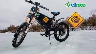 Электрический мотоцикл с педалями? Велосипед с мотором?(Первый в России серийный электропитбайк предоставлен компанией Eltreco. Зимний тест данного агрегата был..., 2016-03-01T15:00:03.000Z)