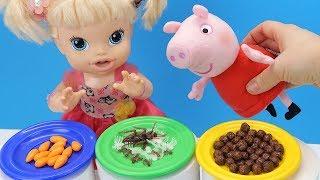 ЧТО КУШАЕТ СВИНКА ПЕППА? #Кукла Беби Элайв Кормит Свои #Игрушки Играем Как Мама