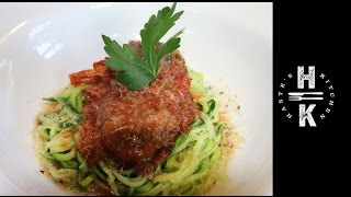 Steak, Mozzarella Meatballs With A Smoky Tomato Sauce And Courgetti  Spaghetti