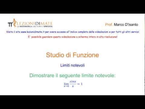 Limite Notevole Fondamentale: Lim [(sinx)/x], Per X→0