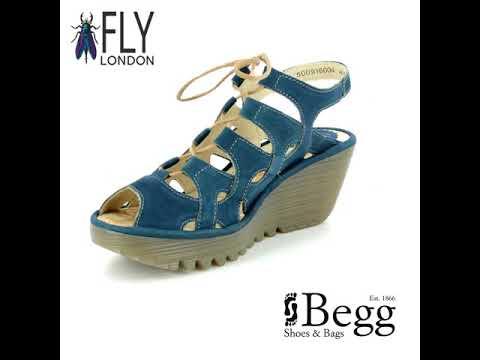 34095f2bfaf Fly London Yexa 835 P500916-004 Navy Wedge Sandals - YouTube