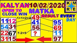 KALYAN MATKA TRICKS *10/02/2020* SATTA MATKA MONDAY TIPS FINAL ANK OPEN TO CLOSE