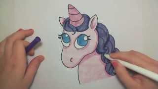 unicorn easy draw drawing head pink cartoon drawings learn sketches kawaii cat