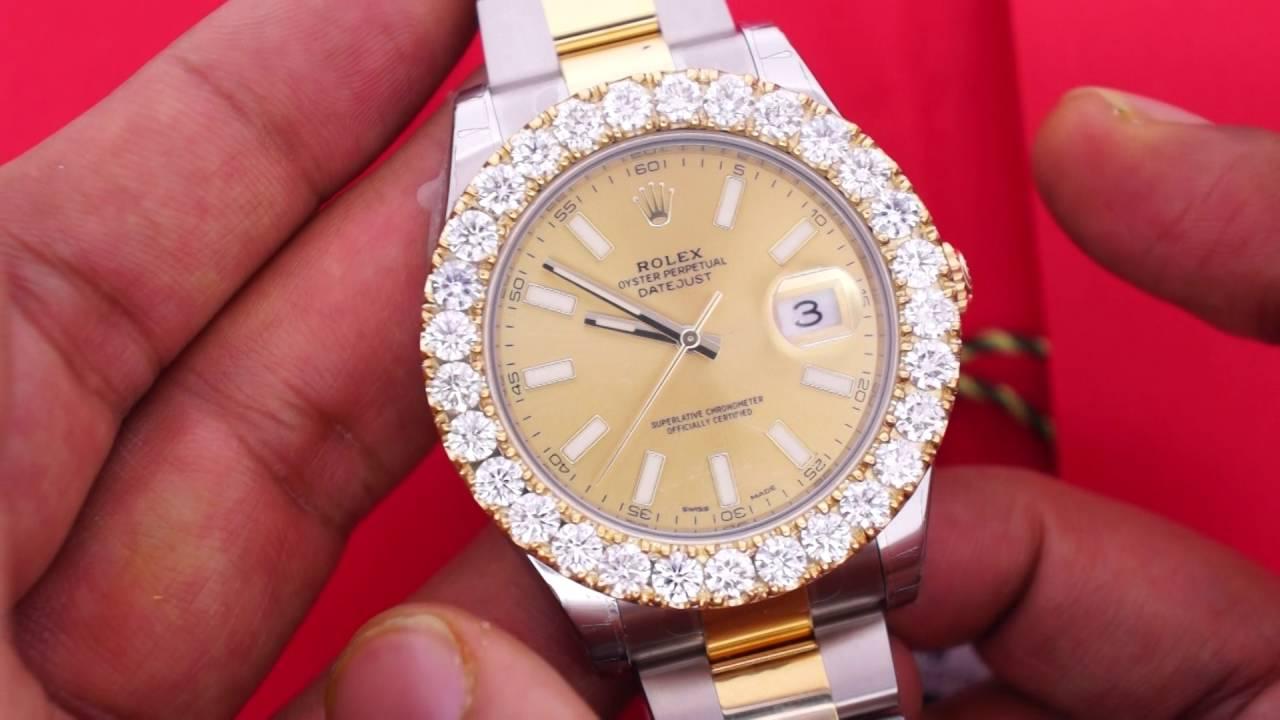 7 25 Carat Diamond Bezel For 41mm Rolex Day Date Ii Watch Youtube