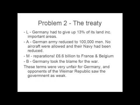 History GCSE - Problems Faced by The Weimar Republic
