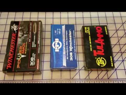 .308 win 180 gr Win Powermax Bonded vs 180 gr PPU SP vs 165 gr Tulammo SP Gel Test