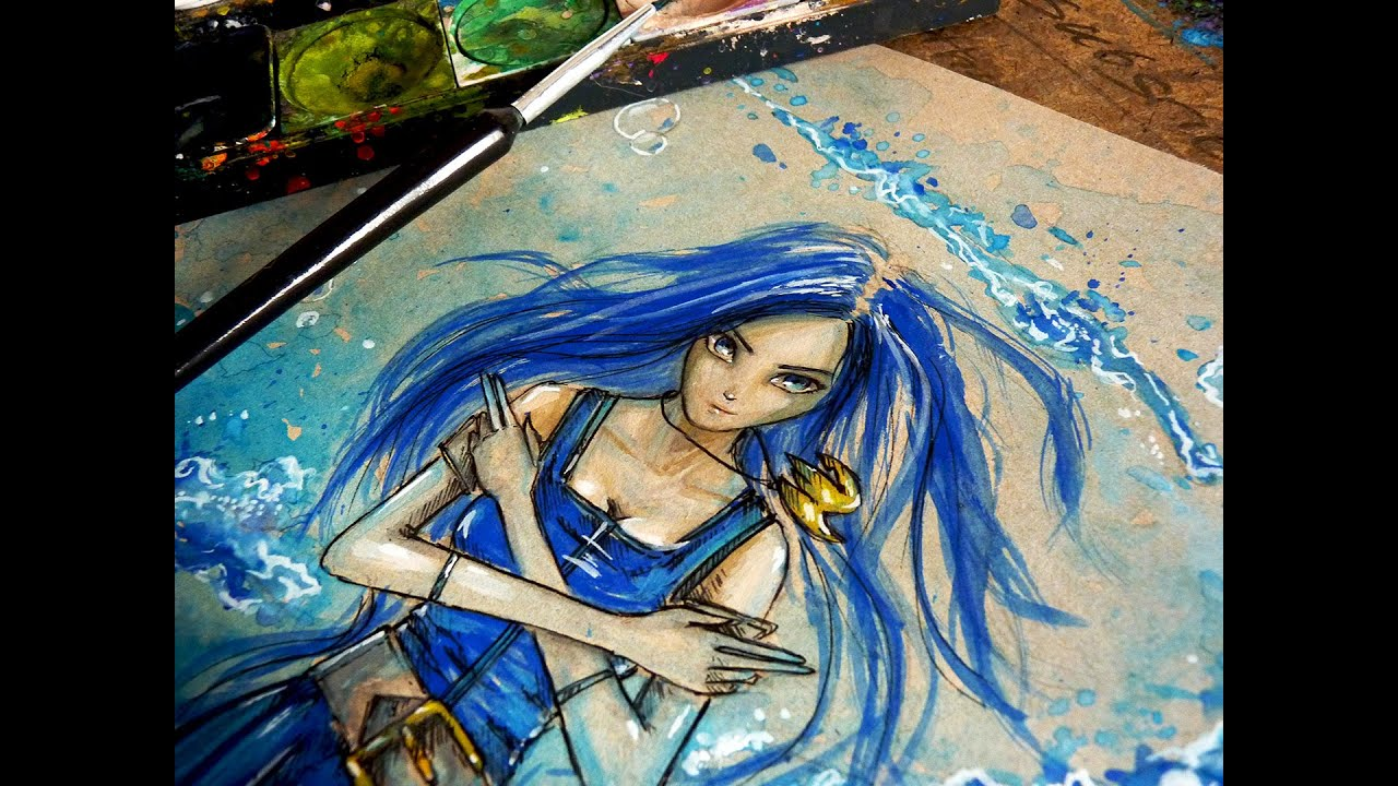 juvia time lapse watercolor painting fairy tail anime youtube