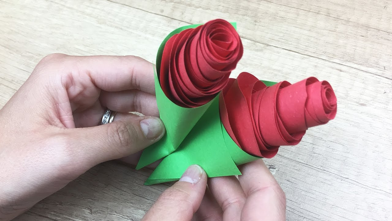 Paper Rose Craft For Kids Nice Gift For Mothers Youtube