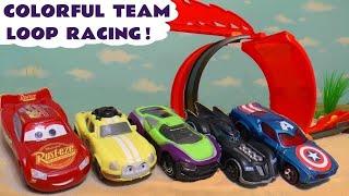 Hot Wheels Cars 3 Learn Colors Loop Race with Disney Pixar McQueen and Marvel Avengers 4 Superheroes