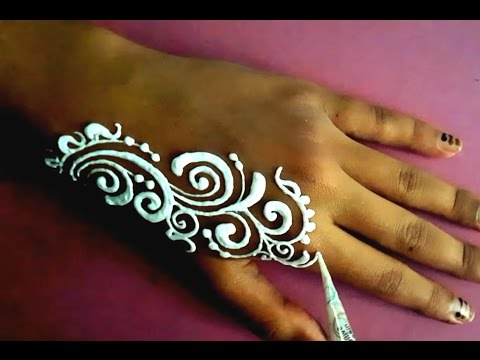 Henna Mehndi Nail Art : ᴴᴰ white henna mehndi body paint art designs without flower