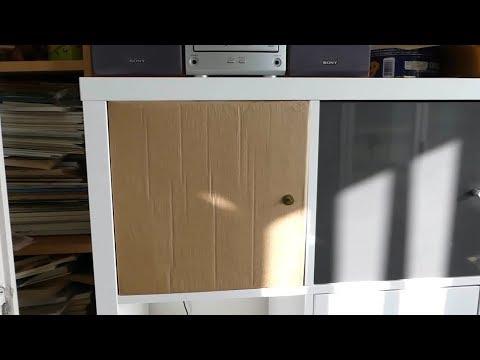 ikea kallax cardboard insert with door youtube. Black Bedroom Furniture Sets. Home Design Ideas