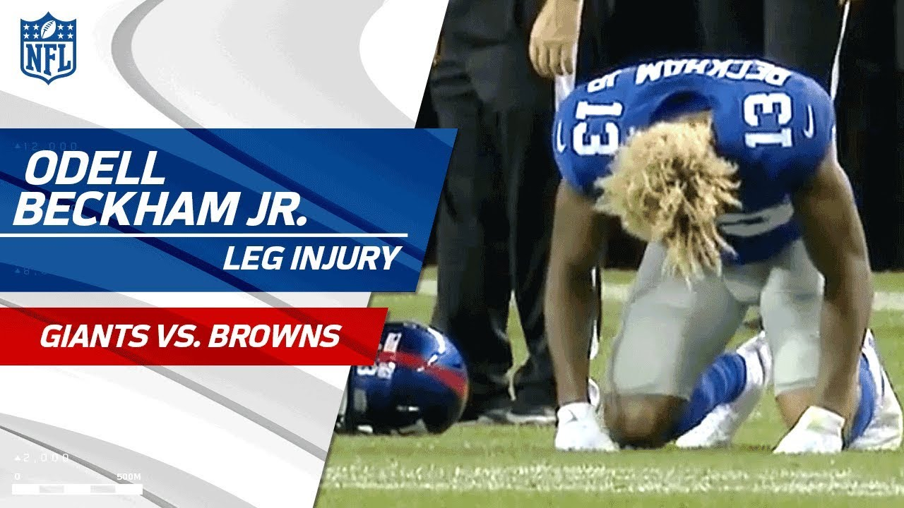 Odell Beckham Jr  Suffers Leg Injury | Giants vs  Browns (Preseason) | NFL