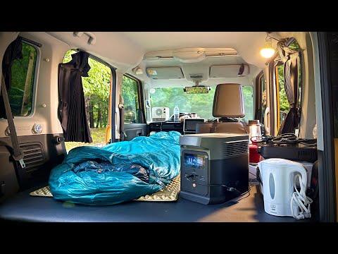 【38泊目】軽自動車で小さいバッテリーと車中泊【EcoFlow DELTA mini】