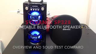Sylvania SP328 portable bluetooth speaker overview and soundtest
