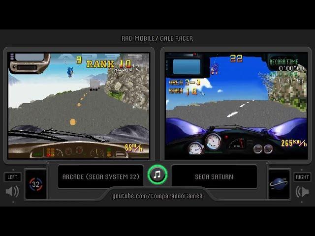 Rad Mobile (Arcade vs Sega Saturn) Side by Side Comparison (Gale Racer)