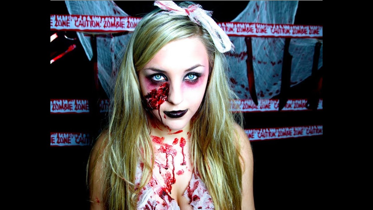 Bloody Zombie Halloween Makeup - YouTube