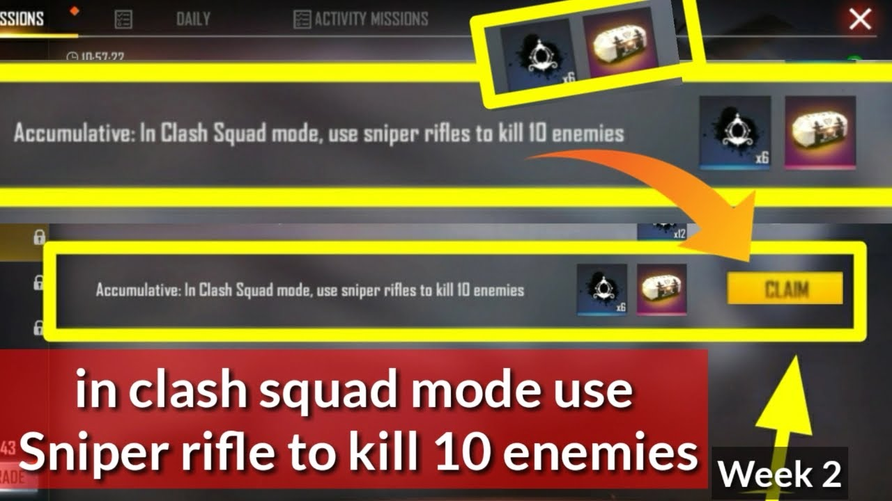 in clash squad mode use sniper rifle to kill 10 enemies