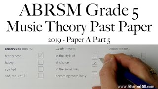 ABRSM Music Theory Grade 5 Past Exam Practice Paper 2019 A Part 5 with Sharon Bill