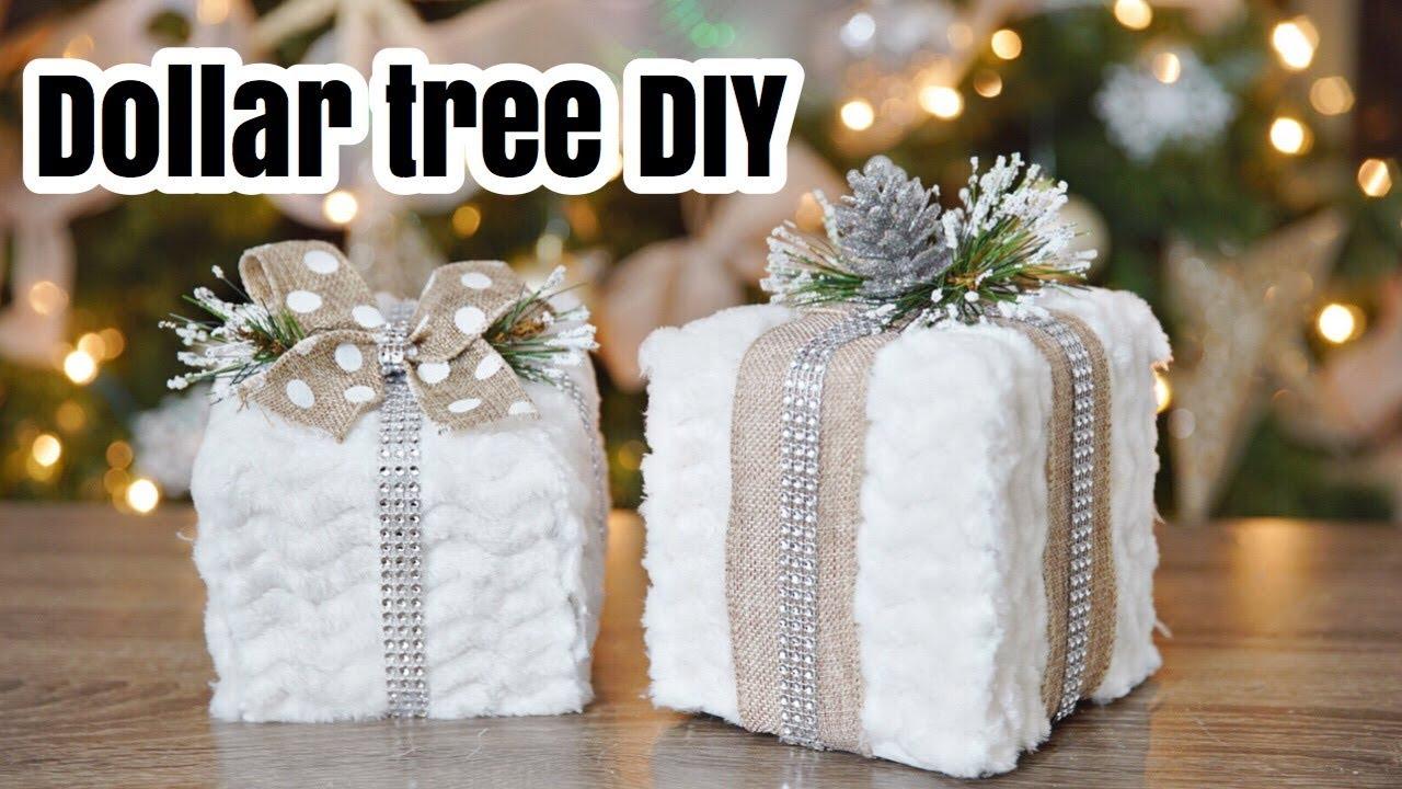 DOLLAR TREE faux fur gift DIY! Christmas 2017 🎄 - YouTube