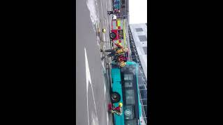 Bus Fire at Derby Bus Station ,Fire Fighters Arrive