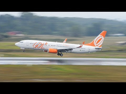Boeing 737-800 smooth landing at Pengel Airport GOL Airlines  GLO 7473