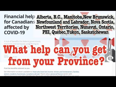 Financial Help For Canadians From Each Provinces In Canada. Link To All Provinces' Website.
