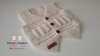 elifpirenvise baby knitting Yeni Doğan Bebek Yeleği, Kolay Yeni doğan Örgü Modeli