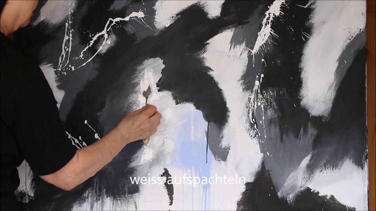 modernes abstraktes acrylbild in schwarz und weiss easy abstract acryl acrylmalerei abstrakt acrylbilder bild malen moderne