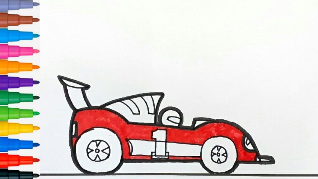 Cara Menggambar Dan Mewarnai Mainan Mobil Balap Youtube