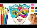 How to Draw Barbie Mask for Kids |Coloring Pages | Fun Art Learning Colors Video for Children