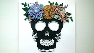 Halloween Ideas: Quilling Skull Flowers , Paper Quilling Crafts for Home Decoration. Room Decor.