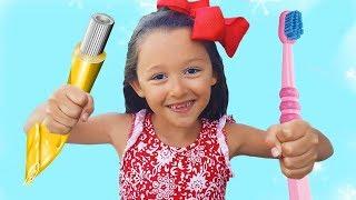 Öykü Pretend Play brushing teeth - Routine fun kids video