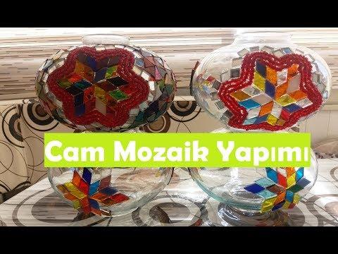 Evde Cam Mozaik Yapımı Lamba Mumluk Avize Youtube