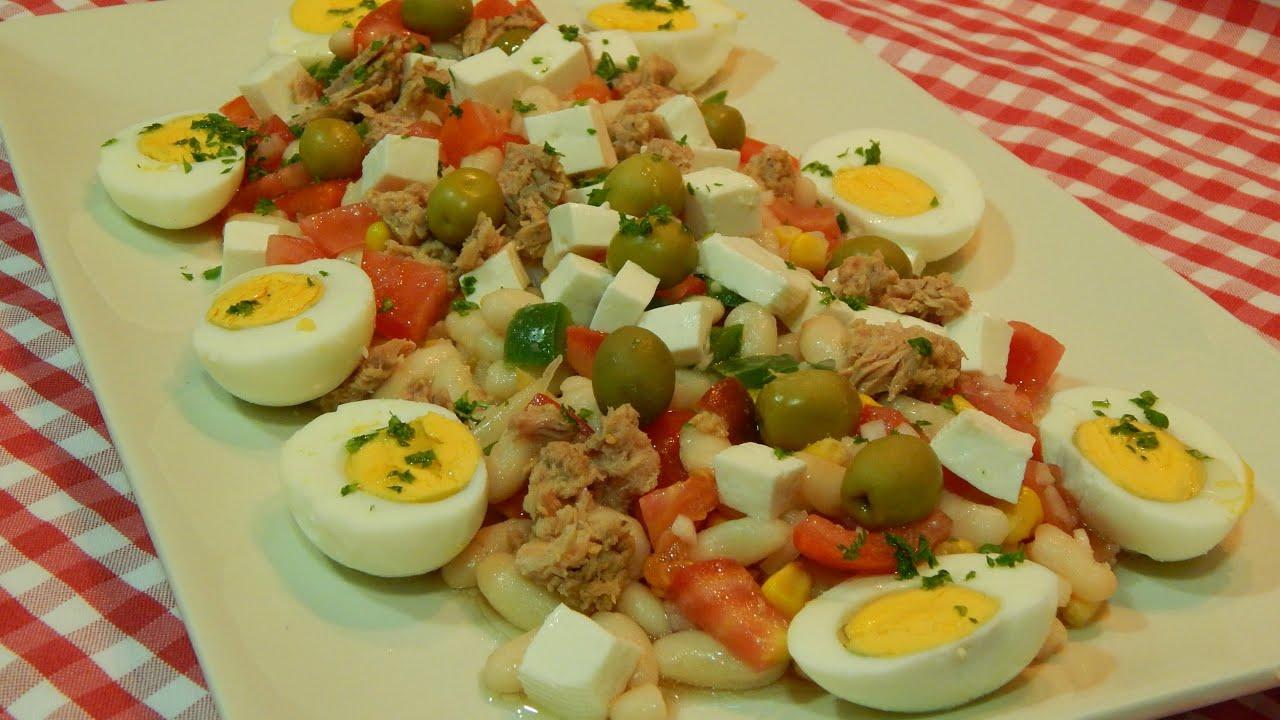 Ensalada de alubias blancas con queso fresco receta f cil - Ensalada de alubias ...