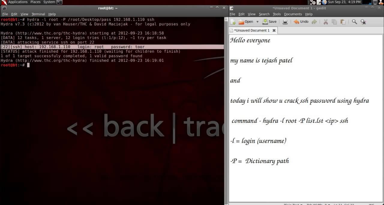 backtrack 5 r3 hydra tutorial