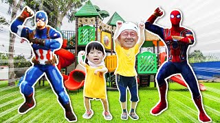 놀이터에 놀러가서 뽀로로 쥬스 먹고 히어로들과 댄스 파티 해요!! 뽀로로쥬스 히어로 키즈파크 놀이터 댄스파티 Fun Playground for Kids - 로미유스토리