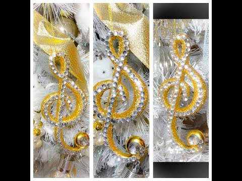 BLINGED DOLLAR TREE MUSICAL NOTE CHRISTMAS ORNAMENT DIY!!