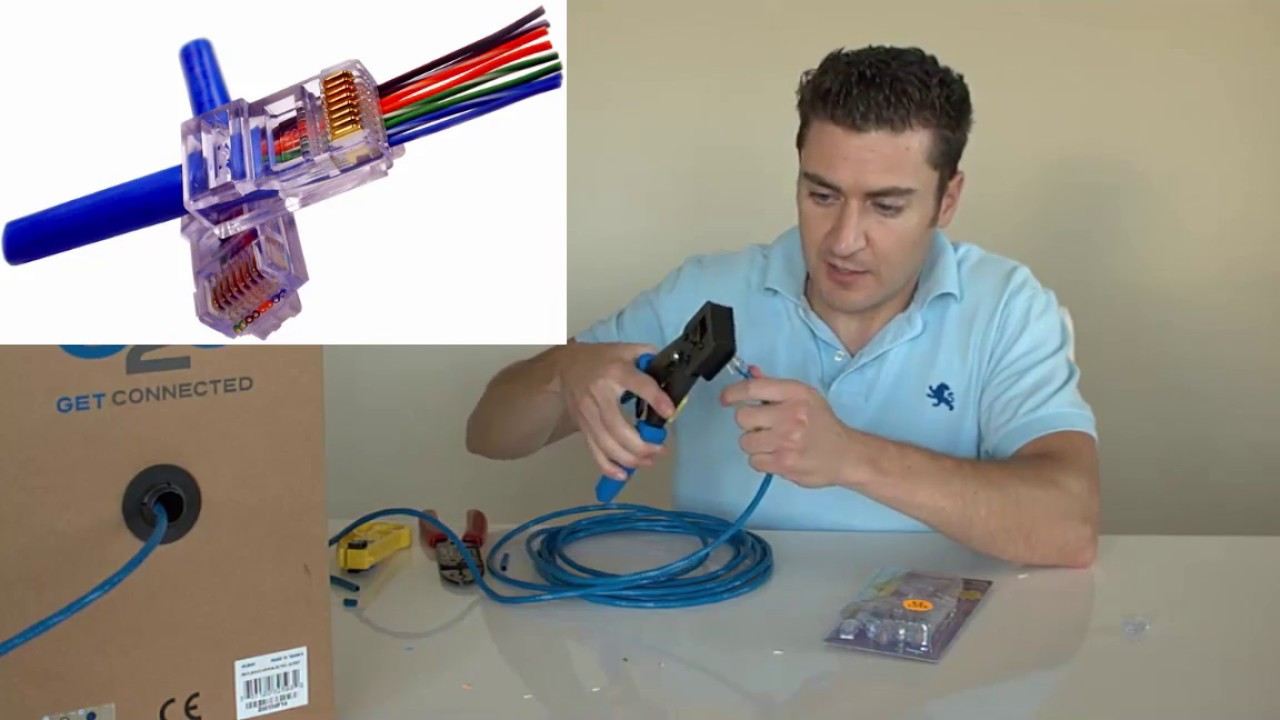 Best Tools And Easiest Way To Make A Cat 6 Cable Youtube Wiring Diagram Wall Jack Get Free Image About