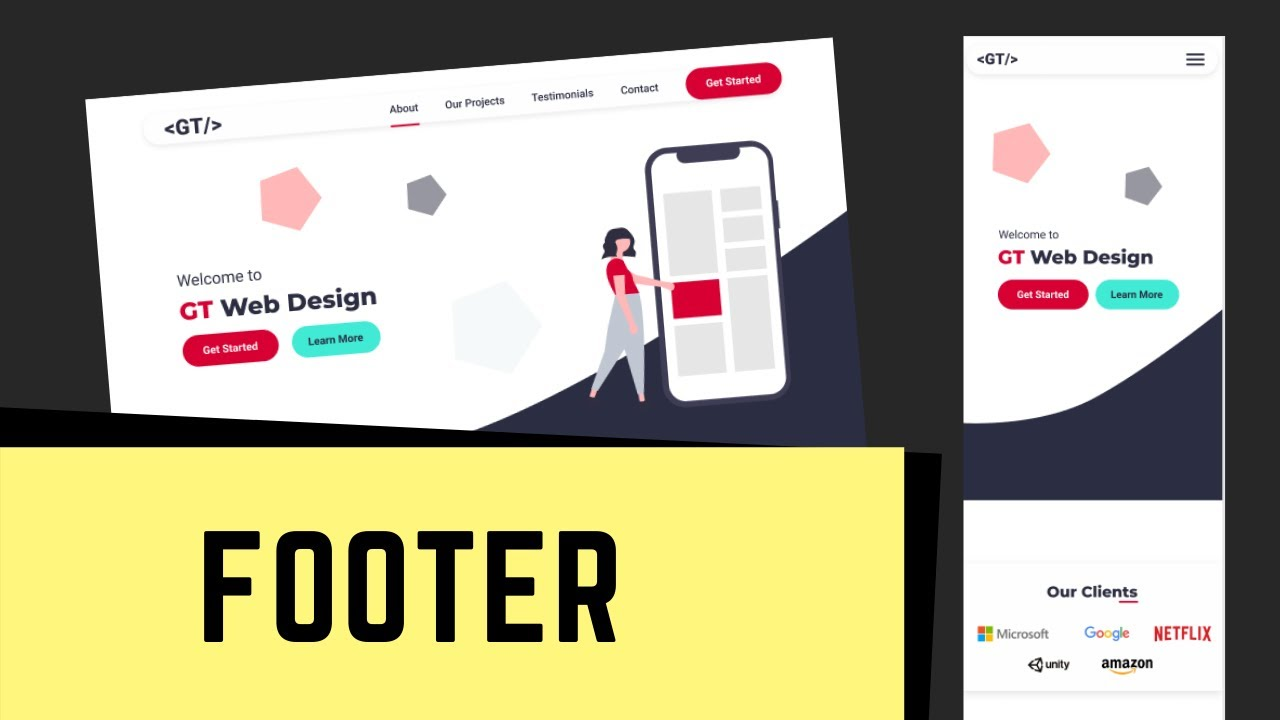 Figma To HTML - One Page Website - Designing The Footer